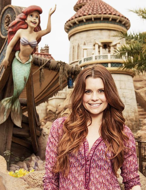 JoAnna Garcia, who portrays Ariel on the ABC series 'Once Upon A Time,' poses in front of Under The Sea -- Journey of The Little Mermaid in Walt Disney World
