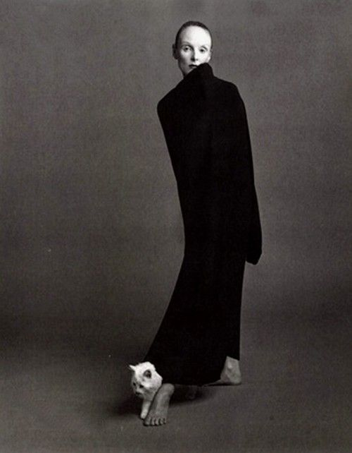 Grace Coddington wearing Comme Des Garcons. Photograph taken by Steven Meisel for the October 1992 issue of  Vogue Italia.