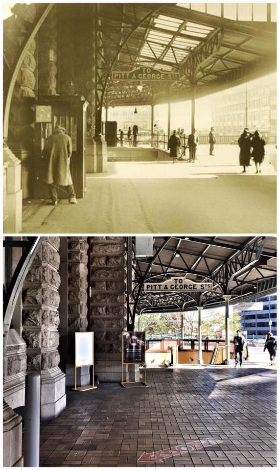 Central Station colonnade steps, c1924>2015 (1924: State Records NSW, 2015: Curt Flood. By Curt Flood)