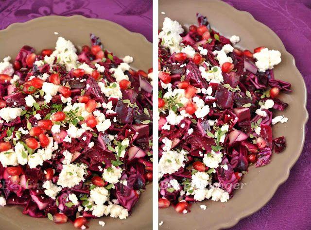 Rotkrautsalat mit Feta und Granatapfelkernen