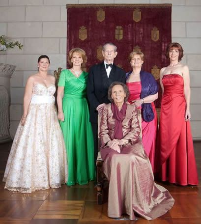 King Michael of Romania of Gotha with the Queen Anne at Elisabeta Palace and surrounded by the queen and four of their daughters Princesses Margarita, Elena, Irina and Mary.