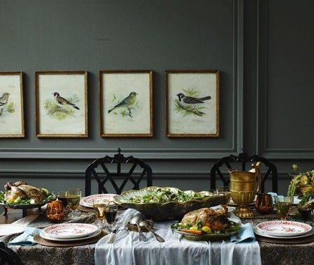 Paint Pick: Dark Olive    A sophisticated grey-green.    Senior editor Meg Crossley likes how this dark, smokey green — Dark Olive from Benjamin Moore (2140-30) — grants an earthy feel to this beautiful dining room. Touches of gold and brass give this hue an old world feel.
