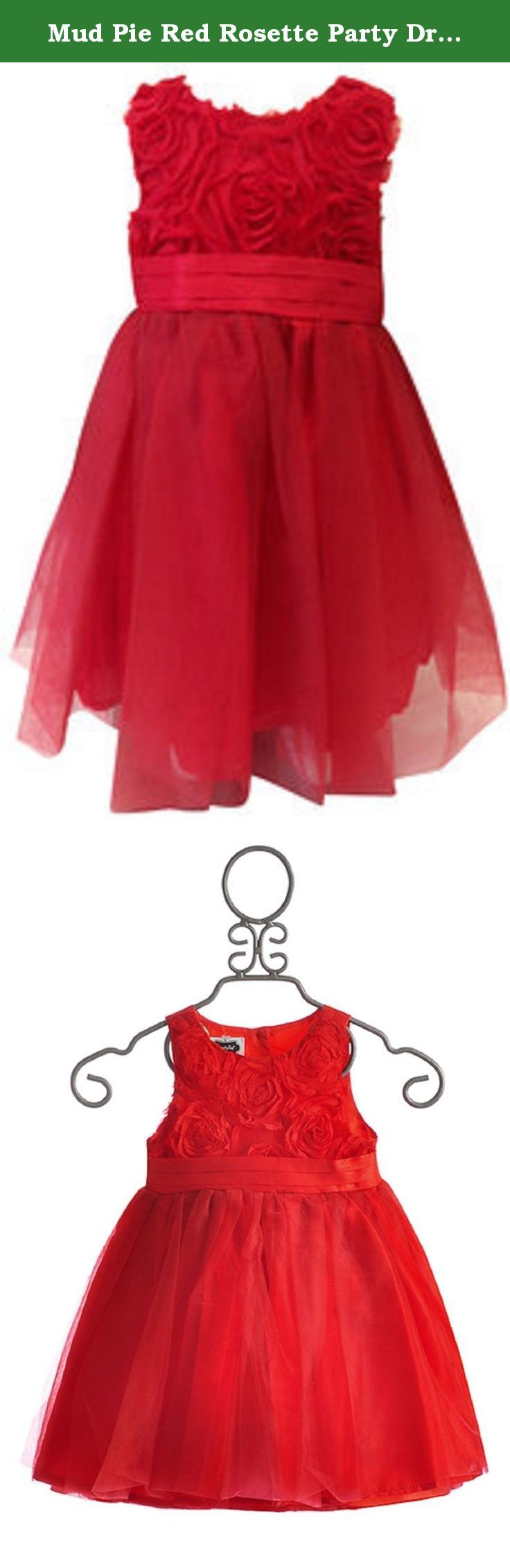 Mud Pie Red Rosette Party Dress Girls Special Occasion Holiday Dress 0-6 months. Stunning Red Holiday Dress or Girls Special Occasion Dress. This elegant faux silk dress has 3D shirred chiffon rosette bodice. Beautiful Girls Red Party Dress has cover back button detail and full tulle skirt with layers. Classic with a contemporary twist!.