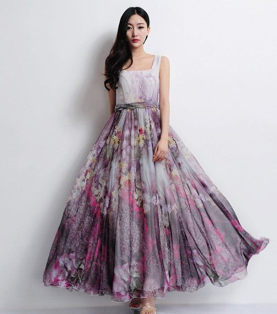 Grey Purple Floral A-line Strap Dress Bohemian Boho Wedding Bridesmaid Maxi Full Pleated Skirt Ball Gown Evening Prom Party Event New Year on Etsy, $89.82