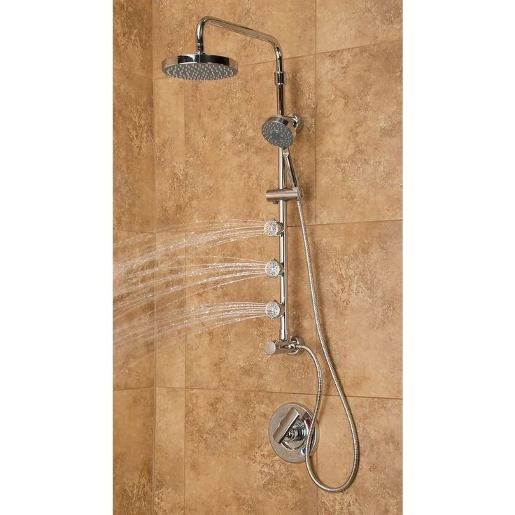 The Lanikai 3-Jet Shower Systemtransforms your shower into a virtual spa. Choose between a soothing, oversized rain showerhead, multi-function hand shower or rejuvenating dual-function body jets. It simply connects to the water supply at your existing showerhead location and uses your existing hot/cold shower valve.