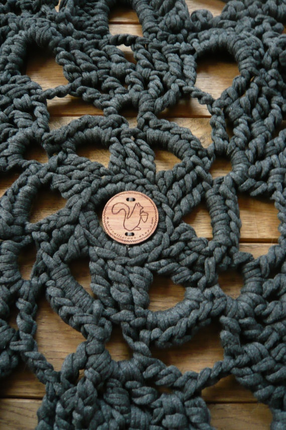 OMG I just found the rug to my new bathroom!!  doily bath rug charcoal grey by squirrellicious on Etsy, $70.00