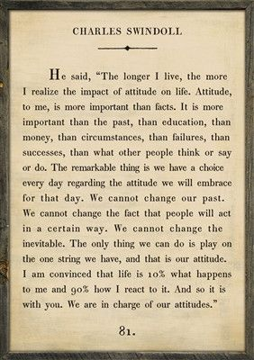 Quote Art ~ Charles Swindoll The longer I live, the more I realize the impact of attitude on life. Attitude, to me, is more important than facts. It is more important than the past, than education, th