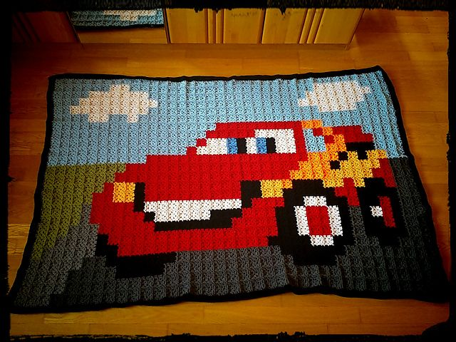 Granny Square Lightning McQueen (Cars) Blanket by ~ Herlinde ~ Pattern: https://de.pinterest.com/pin/374291419012071192/