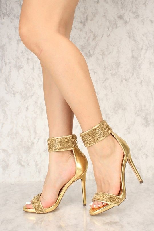 17f5bbf94cc Rock these bedazzle single sole heels with your next dinner outfit. The  featuring includes a bold color with a faux leather fabric