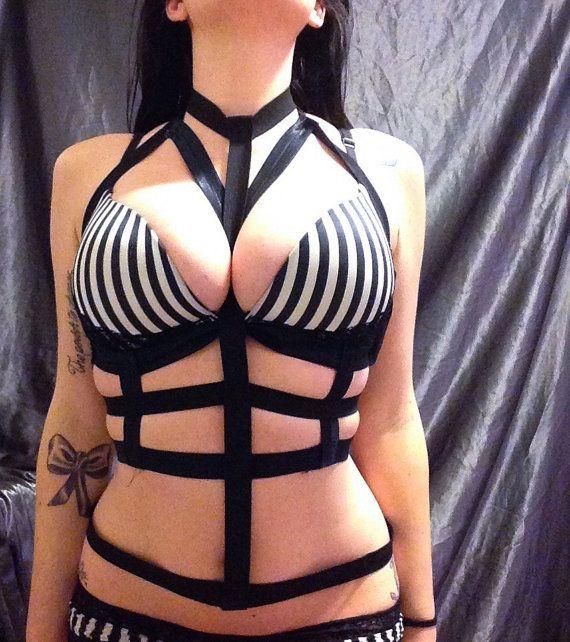 Harness bondage breast leather