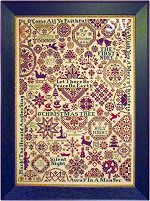 bygone stitches; quaker christmas II chart has names of christmas carols stitched throughout