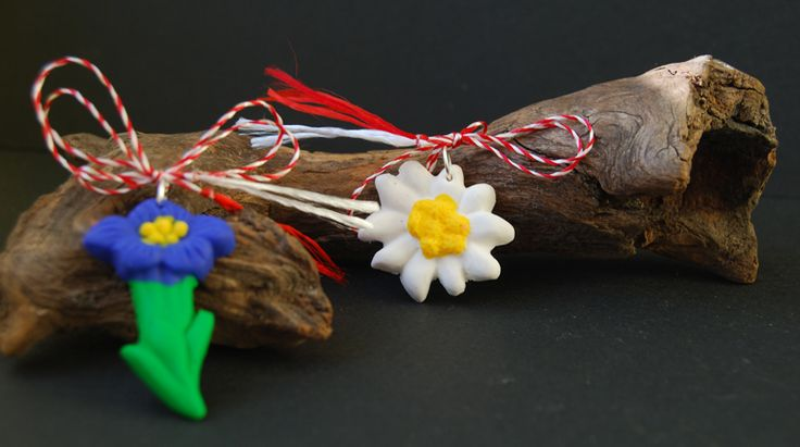 mountain flowers polymer clay, edelweiss polymer clay, hydrastis canadensis polymer clay, martisoare gentiana si floare de colt din fimo, martisoare flori de munte
