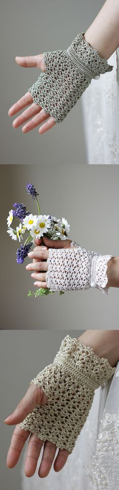 Guantes sin dedos. Fingerless gloves, look crocheted