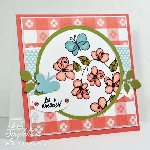 """""""Be A Dreamer""""  ♥♥♥ this colourful card by Kim Singdahlsen.  Paper: Stampin' Up Calypso Coral, Old Olive, Baja Breeze, Domestic Goddess and Patio Party dsp: Goddesses Dsp, Domestic Goddesses, Stamps Parties, De Photo, Parties Dsp, Sassy Cards, Colour Cards, Sassy Stamps, Patio Parties"""