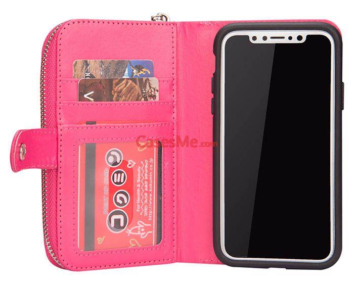 online retailer 6927f 8dfc4 BRG iPhone X Litchi Pattern Zipper Wallet Detachable Case Rose ...