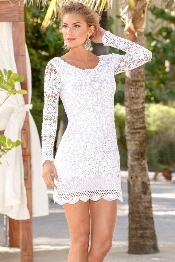 CROCHET FASHION TRENDS exclusive white crochet  by LecrochetArt, $470.00