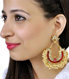 Rooh-green and red moti chand bali