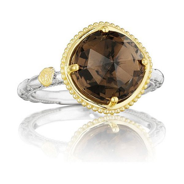 Tacori Midnight Sun Two Tone Smoky Quartz Station Ring ($410) ❤ liked on Polyvore featuring jewelry, rings, smokey quartz ring, tacori, smoky quartz rings, two tone rings and tacori jewelry