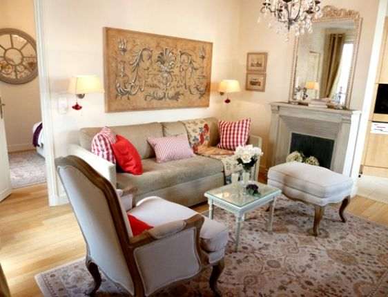 French Country Living Room Curved Lines Patterns On Pillows Strong Accent Colors