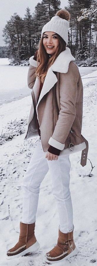 #winter #outfits brown coat and white bobble hat
