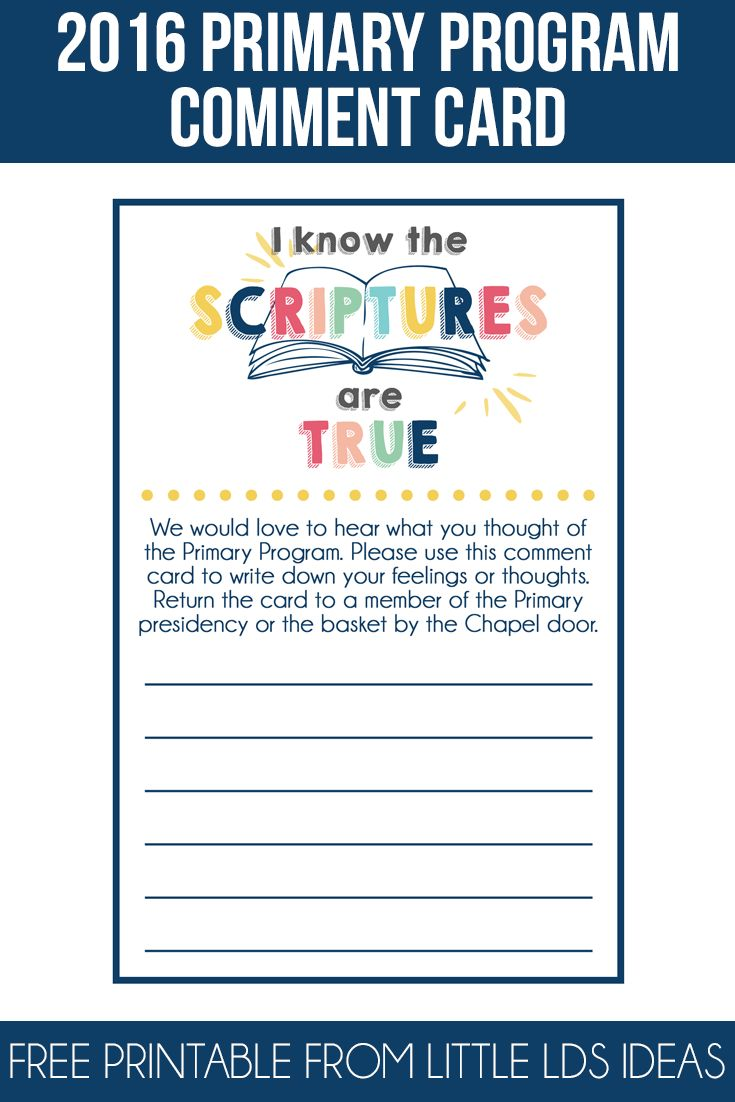 These LDS 2016 Primary Program Comment Cards are the perfect way to let the…