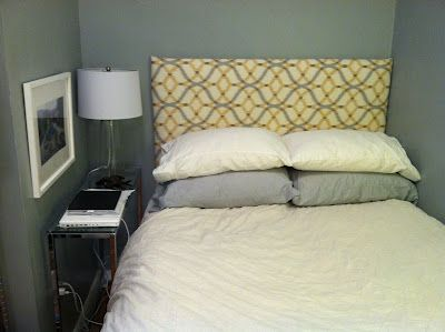 Foam core headboard--perfect cheap and safe solution for my daughter's bed (to be)!