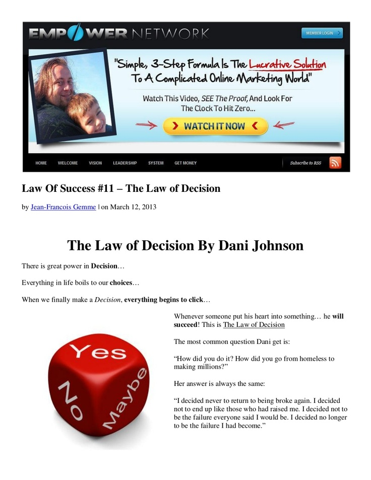 law-of-success-11-the-law-of-decision-by-dani-johnson by Jean-Francois Gemme via Slideshare