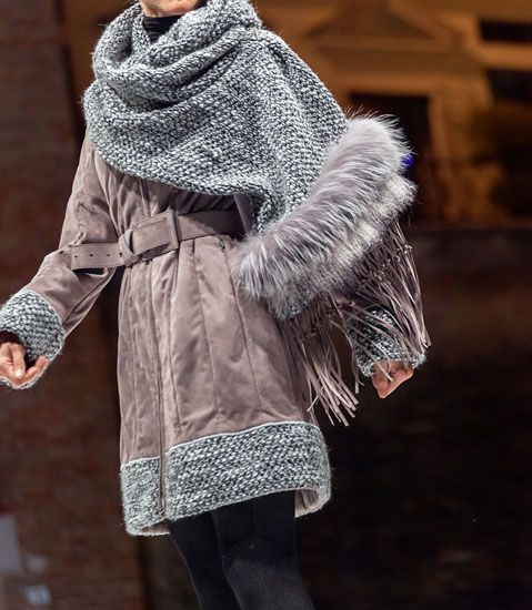 Winter coat with shawl