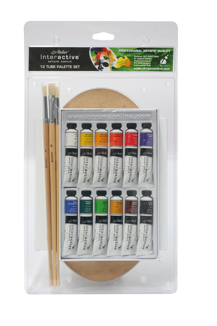 Atelier Interactive 12 x 20ml with Free Palette and Brushes Blister Pack