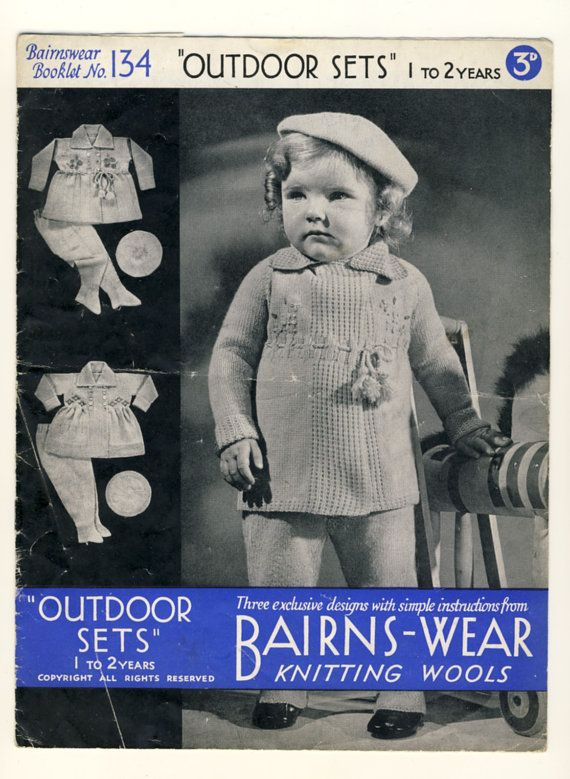 """(SOLD) Bairnswear 1940's pattern, No. 134. Vintage knitting pattern for 'Outdoor Sets' to fit 1-2 years. 3 different designs. To fit chest 21""""-23"""". £2.99 #1940s #knitting #bairnswear  by PatternaliaVintage"""