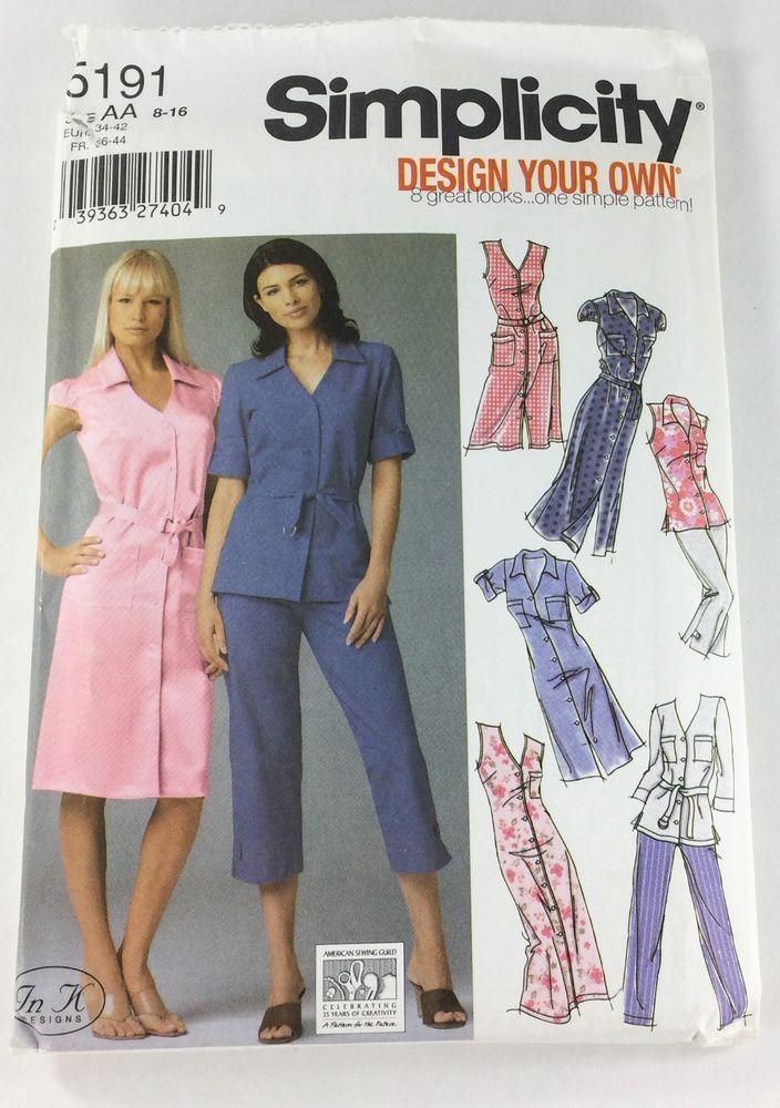 Simplicity Pattern Womens Shirtdress Tunic Pants 5191  Sz 8-10-12-14-16 UNCUT #Simplicity