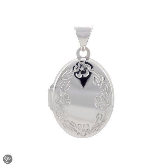 bol.com | Classics&More Zilveren Medaillon 14 mm - Bloemmotief | jewellery