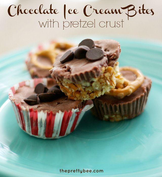 Vegan chocolate ice cream bites with pretzel crust - a delicious no bake dessert!