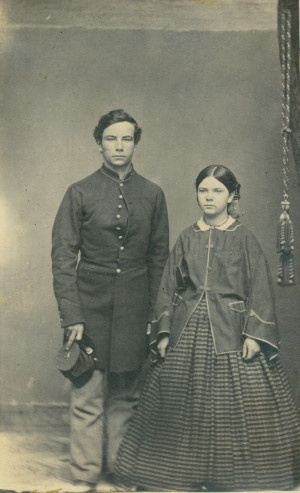 Unidentified Union soldier and young lady, maybe a sibling. (1861 to 1865)