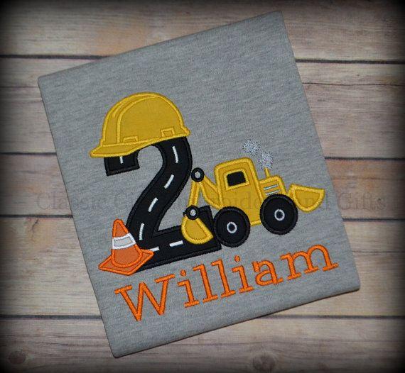 GRAY digger construction applique birthday shirt by ClassicCityEmb