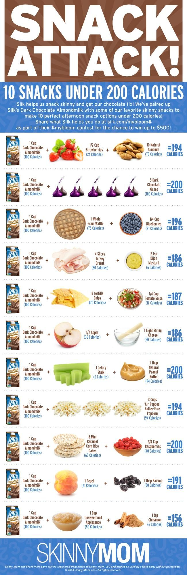 Snack time! Try these Silk Dark Chocolate Almondmilk pairings for 200 calorie snacks! via @Skinny Mom - Healthy Living for Women