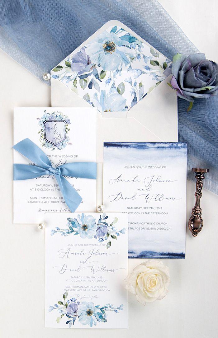 Blue Wedding Invitations At Stylish Wedd Stylishwedd Blue Wedding Invitations Wedding Colors Purple Dusty Blue Weddings