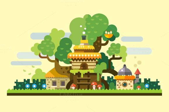 Fantastic landscape, tree house by TastyVector on Creative Market