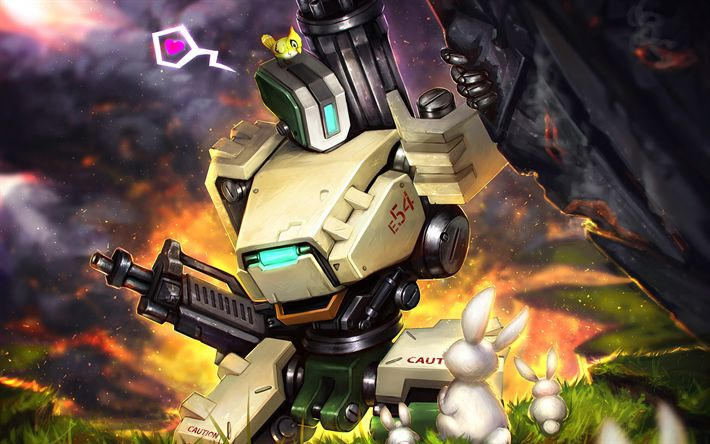 Download wallpapers Bastion, art, robot, characters, Overwatch
