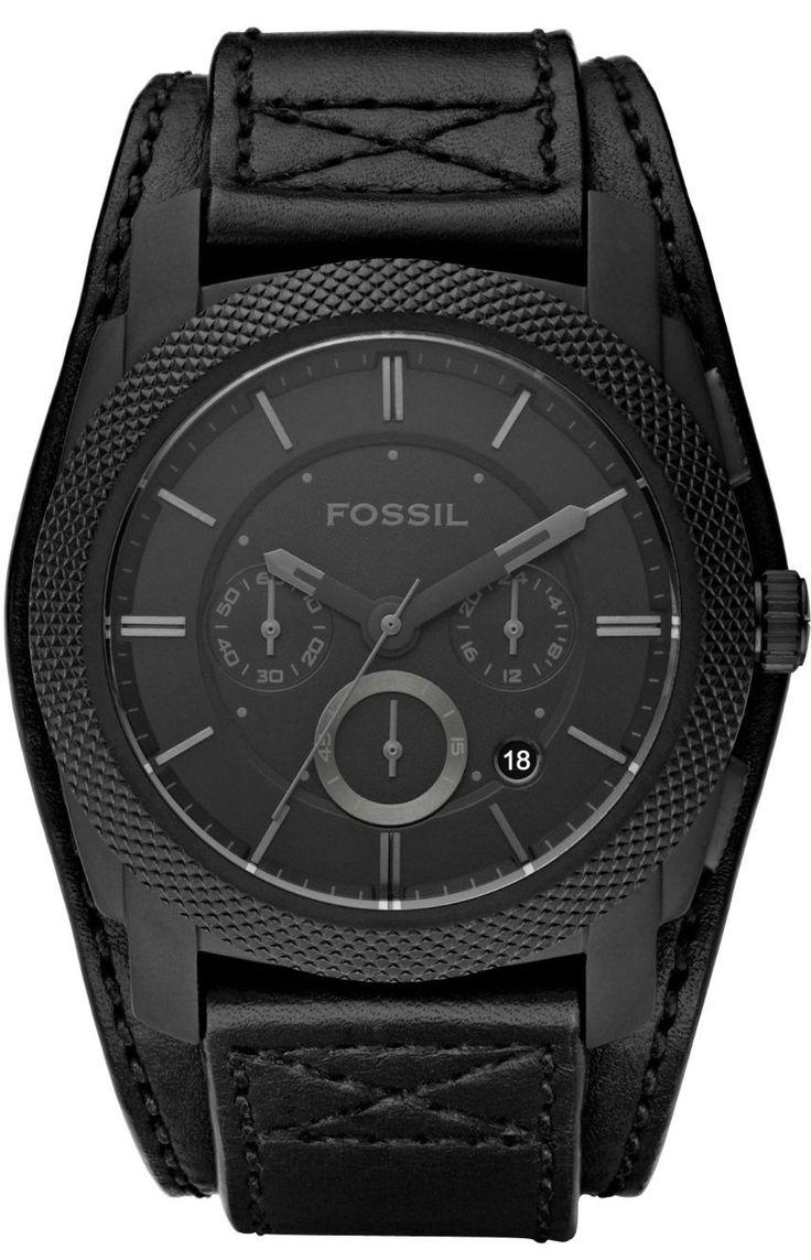 Fossil Machine Cuff Leather Watch Black Fs4617 Fossil