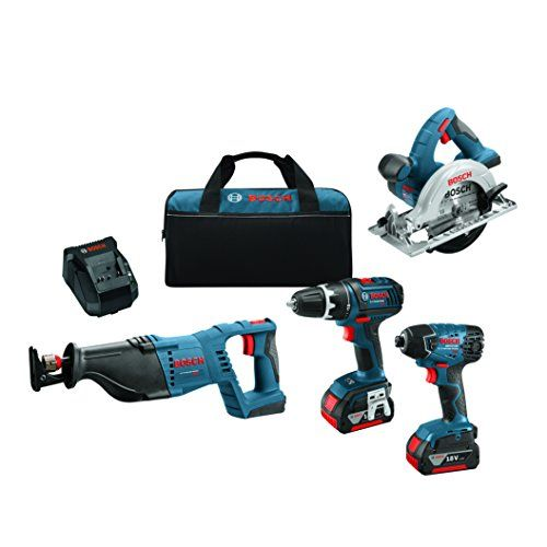 Bosch CLPK420-181 18V 4-Tool Combo Kit, Blue  Advanced electronics - electronic motor and cell protection help prevent overheating and overloading for extended tool life and runtime  4 - pole open frame motor for more power in a smaller size  Bosch hammer and anvil system - for maximum driving impact endurance and performance for small duty fastening applications  Superior ergonomics - Smallest grip diameter for best in Class impact driver ergonomics  Lockjaw blade change system for fa...