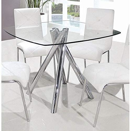 Best Master Furniture Square Glass Dining Table Silver Square