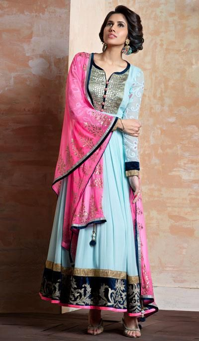 G3fashions Light blue georgette embroidered designer salwar suit  Product Code: G3-LSA107170 Price: INR RS 9512