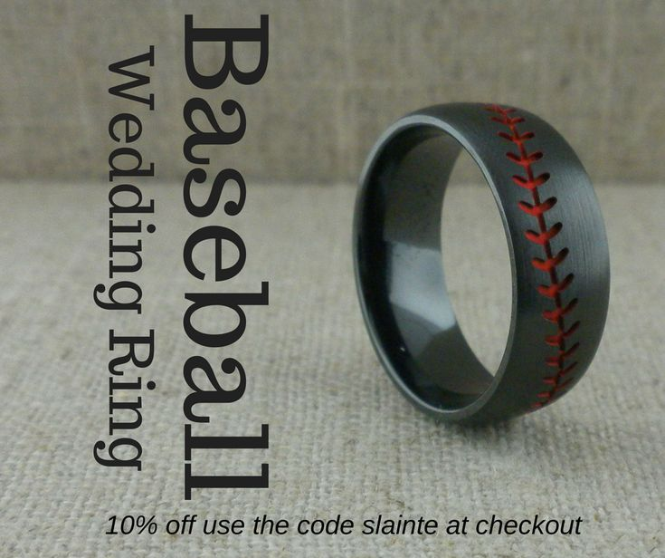 black zirconium baseball wedding ring with red stitches other color stitching available made in - Wedding Ringscom