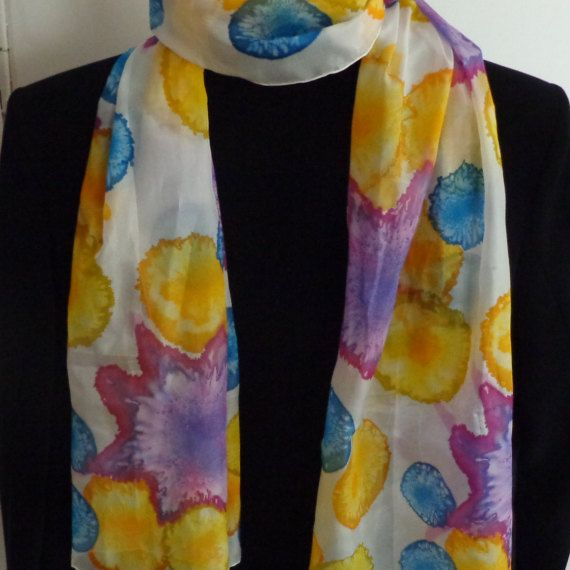 Long silk scarf sunshine gift for her birthday gift by Scarfaki