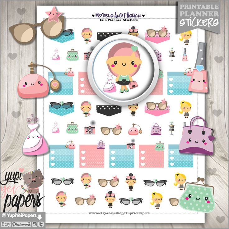 Fashion Stickers, Planner Stickers, Planner Girl, Stickers, Kawaii Stickers, Planner Accessories, Printable Stickers, Glasses Stickers