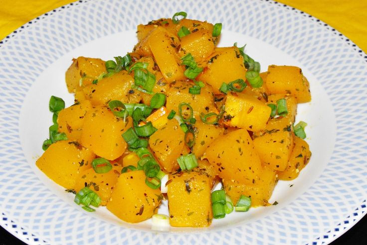 Recipe for Yummy squash/ pumpkin hot salad- full of healthy herbs and spices- a great way to get your Orange- Color foods!