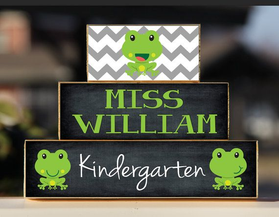 Frog Teacher Sign Back to School Custom Personalized -Trio Wood Blocks Stack - Classroom Decor/Gift - Wooden Block on Etsy, $15.00