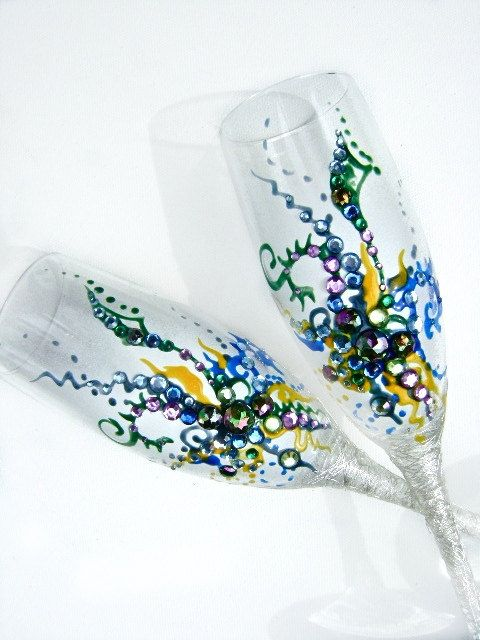 Wedding champagne glasses, hand decorated toasting flutes in silver, peacock and canary yellow