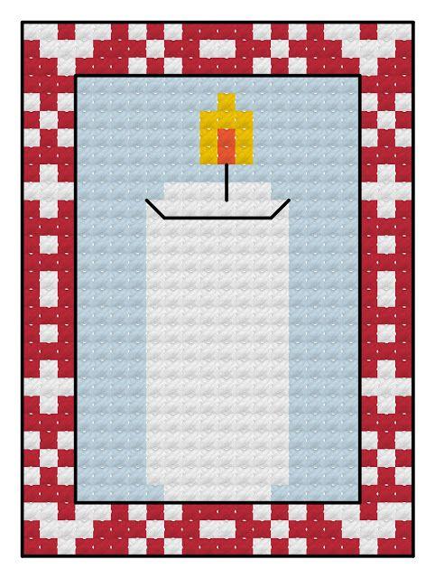 Free cross stitch advent calendar pattern, candle